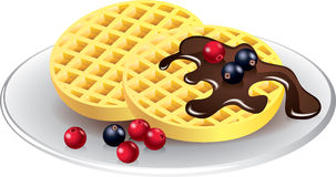 Belgian waffles with chocolate and berries Royalty Free Stock Images