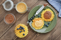 Belgian waffles with chocolate cream and peanut butter Stock Photo