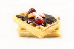 Belgian waffles with chocolate Royalty Free Stock Images