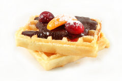 Belgian waffles with chocolate Royalty Free Stock Photography