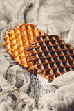 Belgian Waffles with Chocolate Icing Royalty Free Stock Photography