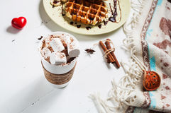 Belgian waffles and cocoa with marshmallows for breakfast. Stock Photos