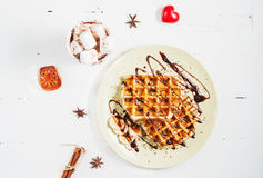 Belgian waffles and cocoa with marshmallows for breakfast. Top view Stock Photos