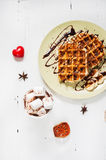 Belgian waffles and cocoa with marshmallows for breakfast. Top view. Royalty Free Stock Photo
