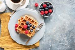 Belgian waffles, coffee and berries Stock Photo