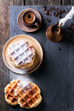 Belgian waffles and coffee Stock Photo