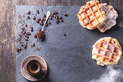 Belgian waffles and coffee Royalty Free Stock Photo
