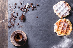 Belgian waffles and coffee Stock Image