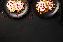 Belgian waffles with cream and pomegranate seeds stock photos