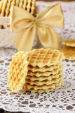 Belgian waffles for dessert Royalty Free Stock Photo
