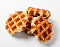 Belgian waffles for dessert Royalty Free Stock Images