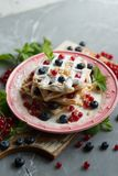 Belgian waffles with fresh berries Stock Image