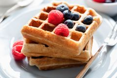 Belgian waffles with fresh berries Royalty Free Stock Photos