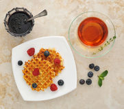 Belgian waffles with fresh berries Royalty Free Stock Photo