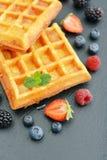 Belgian waffles with fresh berries Stock Image