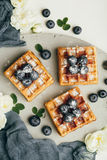 Belgian waffles with fresh berries and mint Stock Images