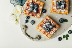 Belgian waffles with fresh berries and mint Royalty Free Stock Image