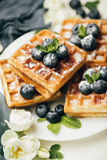Belgian waffles with fresh berries and mint Stock Photography