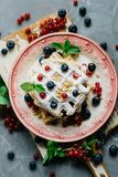 Belgian waffles with fresh berries Royalty Free Stock Photography