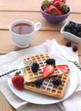 Belgian waffles with fresh berrys Royalty Free Stock Photos