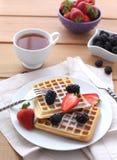 Belgian waffles with fresh berrys Royalty Free Stock Photos
