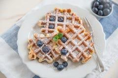 Belgian Waffles with fresh fruit Royalty Free Stock Image