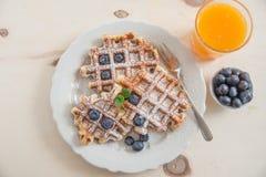 Belgian Waffles with fresh fruit Royalty Free Stock Photo