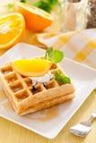 Belgian waffles. With fresh orange Stock Photo