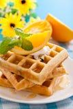Belgian waffles. With fresh orange Stock Photos