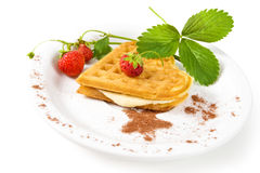 Belgian waffles with fresh strawberries Royalty Free Stock Photo