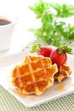 Belgian waffles. With fresh strawberry Stock Photography