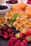 Belgian Waffles and Fresh Summer Fruit Stock Photos