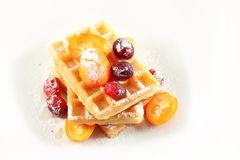 Belgian waffles with fruit Royalty Free Stock Photography