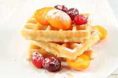 Belgian waffles with fruit Royalty Free Stock Image