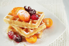 Belgian waffles with fruit Stock Photos