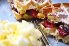 Belgian waffles with fruit Royalty Free Stock Photos
