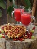 Belgian waffles with fruit juice Royalty Free Stock Photo