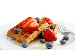 Belgian waffles with fruits Stock Photo