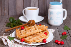 Belgian waffles with honey. In a plate on a wooden table Stock Images