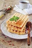 Belgian waffles with honey Stock Images