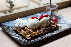 Belgian waffles with ice cream , chocolate, Stock Images