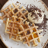 Belgian  waffles with ice-cream Stock Photo