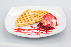 Belgian waffles with ice-cream and syrup Stock Photo