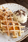 Belgian  waffles with ice-cream Royalty Free Stock Images