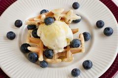 Belgian  waffles with ice-cream Royalty Free Stock Photos