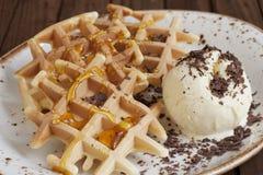 Belgian waffles with ice-cream Stock Photos