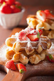 Belgian waffles with icing sugar and strawberry Stock Photography