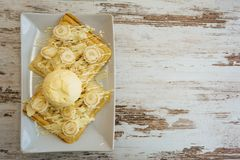 Belgian waffles with melted white chocolate, vanilla ice cream and coconut flakes on light wooden background. stock photography