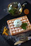 Belgian waffles with Mint Chocolate Chip Ice Cream and mint tea Stock Photos