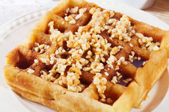 Belgian waffles with nuts closeup honey syrup Polish Czech Stock Photography